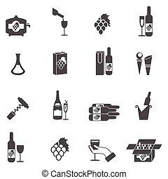 セット, ワイン, アイコン