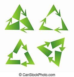 セット, 三角形, 印, デザイン, リサイクルしなさい, 緑