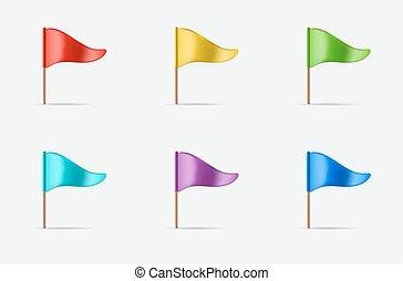 セット, 三角, 揺れている旗, vector., ロゴ, ∥あるいは∥, アイコン