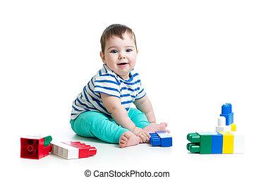 セット, 上に, 建設, 背景, 赤ん坊, 白