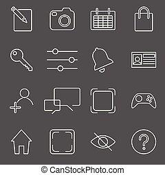 セット, 上に, apps, イラスト, リンネル, ベクトル, 手ざわり, アイコン