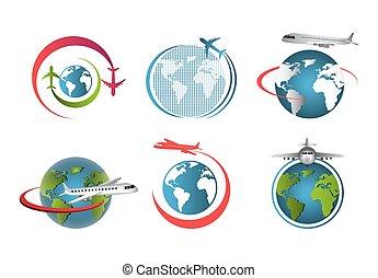 セット, 世界, 飛行, 飛行機, のまわり