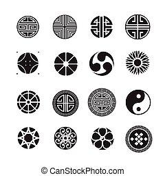 セット, 中国語, 日本語, 装飾, ベクトル, アイコン, 韓国語, 円
