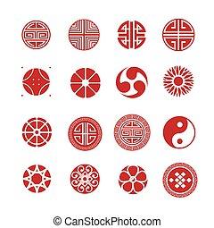 セット, 中国語, 日本語, 装飾, ラウンド, ベクトル, アイコン, 円, 韓国語