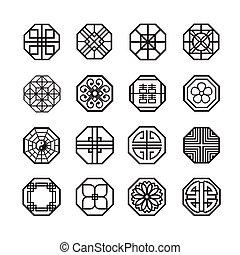 セット, 中国語, 日本語, 装飾, 八角形, ベクトル, アイコン, 韓国語, 円