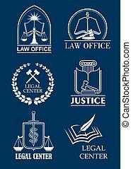 セット, 中心, シンボル, オフィス, 法的, 弁護士, 法律事務所