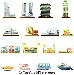 セット, 交通機関, アイコン, マイアミ, 要素, 風景