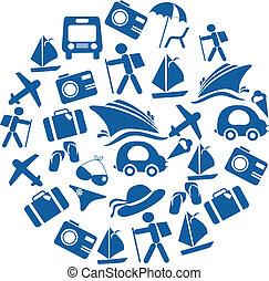 セット, 交通機関, 旅行, アイコン