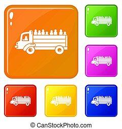 セット, 人々が彩色する, 避難者, アイコン, トラック