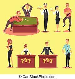 セット, 人々, クラブ, カジノ, casino., 夜, ギャンブル