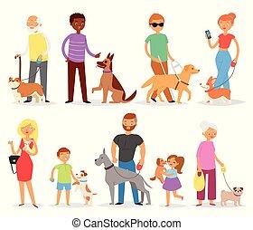 セット, 人々, 女の子, 子供, ペット, 特徴, 隔離された, dog-breeder, 動物, 白, 子犬, 女, doggish, dog-breeding, イラスト, 背景, 人, 男の子, わんちゃん, 犬, 遊び, ベクトル, ∥あるいは∥