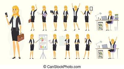 セット, 人々, 女性実業家, -, ベクトル, かなり, 漫画, 特徴