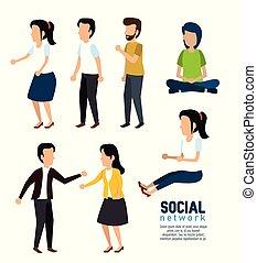 セット, 人々, 媒体, コミュニケーション, 社会, 技術