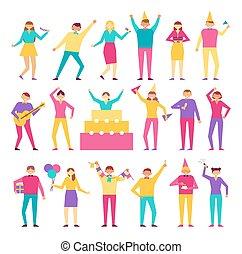 セット, 人々, birthday, ベクトル, 楽しみ, パーティー, 持つこと