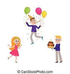 セット, 人々, birthday, 楽しみ, パーティー, 持つこと