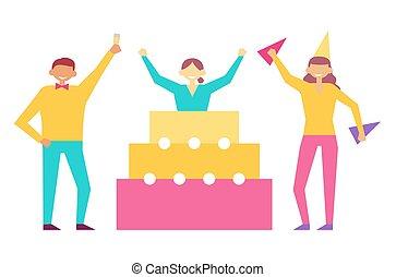 セット, 人々, birthday, 楽しみ, パーティー, 持つこと, 祝いなさい