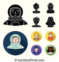 セット, 人々, cap., 宇宙服, ヘルメット, 別, アイコン, 宇宙飛行士, バッジ, 株, 平ら, 彼の, ...