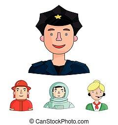 セット, 人々, cap., 宇宙服, ヘルメット, 別, アイコン, 宇宙飛行士, バッジ, 株, 彼の, 消防士, ...