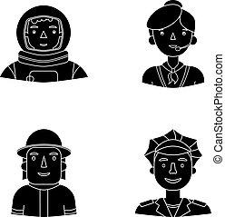 セット, 人々, cap., 宇宙服, ヘルメット, 別, アイコン, 宇宙飛行士, 黒, バッジ, 株, 彼の, ...
