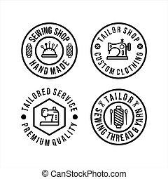 セット, 仕立屋, 円, ロゴ, 店
