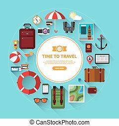 セット, 休暇, 旅行, 計画, 観光事業, アイコン