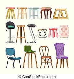 セット, 供給される, 肘掛け椅子, 現代, 快適である, デザイン, 椅子, カフェ, 腰掛け, 隔離された, 内部, 白, ビストロ, bar-chair, イラスト, 背景, 席, 家具, バー, 容易椅子, ベクトル, ∥あるいは∥
