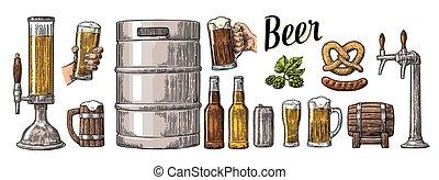 セット, 保有物, 小樽, 缶, ソーセージ, 2, ビールマグ, びん, 手, プレッツェル, 蛇口, ガラス