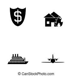 セット, 保険, アイコン