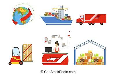 セット, 倉庫, 建物, フォークリフト, 分配, ベクトル, ロジスティクス, トラック, 倉庫, イラスト, 船, 貨物, 交通機関