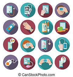 セット, 健康, デジタル, アイコン