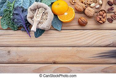 セット, 健康, バックグラウンド。, 概念, 食物, 原料, 木製である, selection., ぼろぼろ, の上...