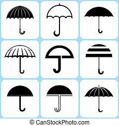 セット, 傘, アイコン