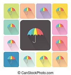 セット, 傘, illustration., 色, ベクトル, アイコン