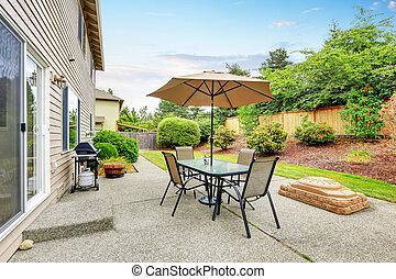 セット, 傘, yard., 背中, テーブル, 中庭