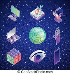 セット, 催し物, バーチャルリアリティ, 未来派, 技術
