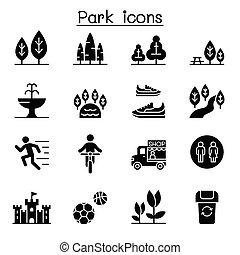 セット, 公園, アイコン