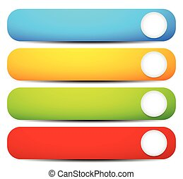 セット, 円形にされる, カラフルである, corners., 背景, ボタン, vector., 長い間, 横, 旗