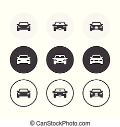 セット, 円形にされる, 単純である, 自動車, icons., 3, デザイン, 背景
