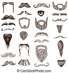 セット, 写真, -, /, 手, 衣装, ベクトル, 引かれる, パーティー, ブース, 髭, 口ひげ