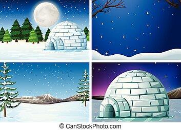 セット, 冬の景色