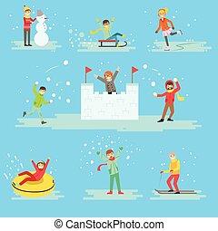 セット, 冬, 人々, 雪, 楽しみ, イラスト, 持つこと