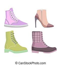 セット, 冬, autmn, 女性, イラスト, 靴