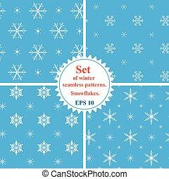 セット, 冬, snowflakes., seamless, パターン, vector., snowfla