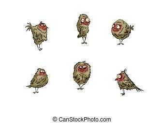 セット, 別, 白, 鳥, バックグラウンド。, スズメ, 変化, デザイン