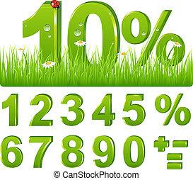 セット, 割引, 緑, サイン, 数字, 草