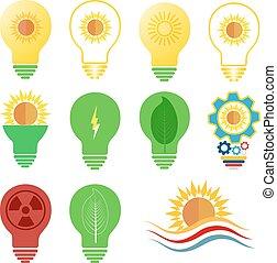 セット, 力, アイコン, 太陽, エネルギー, 主題, ベクトル, ロゴ
