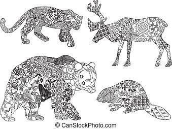 セット, 動物, 図画