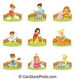 セット, 動物, 子供, 動物園, イラスト, かわいがること, 子供, 楽しみ, 小さい, 漫画, 持つこと