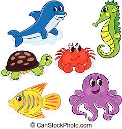 セット, 動物, 漫画, 海
