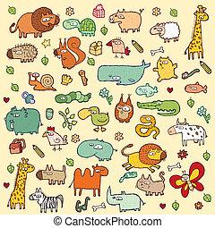 セット, 動物, xl, かわいい